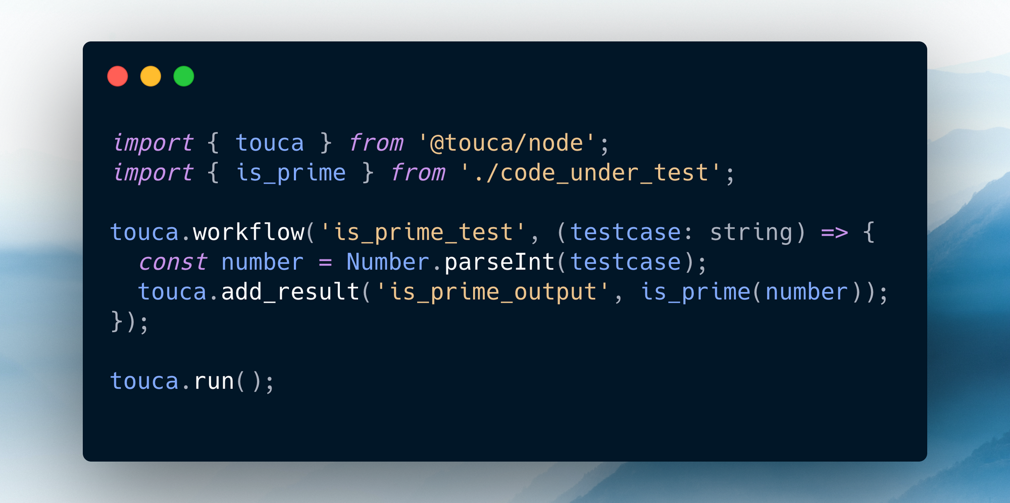Sample code for testing an is_prime function with Touca SDK for Node.js