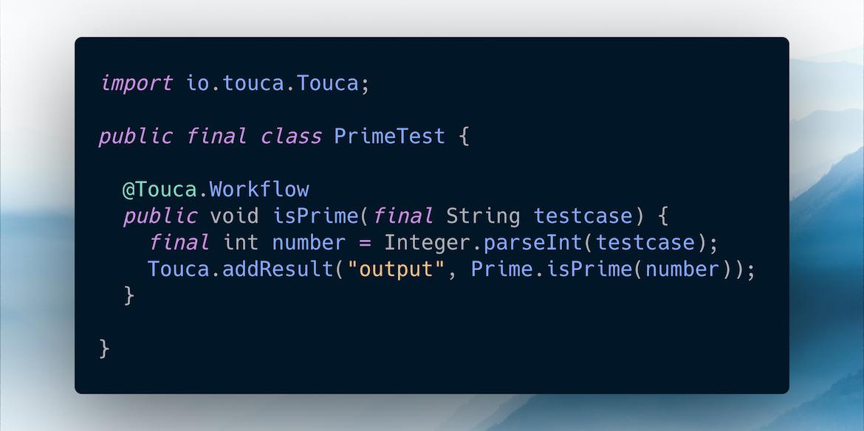 Sample test code using Touca SDK for Java